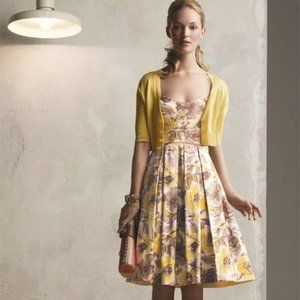 MAGGY LONDON Yellow and Brown Floral Formal Dress